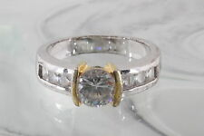 CLEAR CRYSTALS TWO TONE RING FASHION 5098