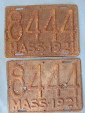 1921 Massachusetts Motorcycle License Plates matched pair!