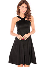 Black Dress Midi Halter Cocktail Flowing Empire Waist Party Club One Size 2653