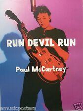 """PAUL McCARTNEY """"RUN DEVIL RUN"""" U.S. PROMO POSTER - Paul & Hofner Guitar, Beatles"""