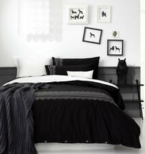 Ardor Boudoir EVIE Embroidered Black QUEEN Quilt Doona Cover Set 225TC