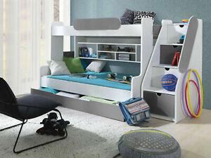 BRAND NEW Bunk Bed SEGAN Triple Sleeper WHITE & GREY Double & Single Mattress