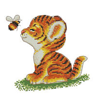 Dimensions Crafts Tiger Bee Stamped Cross Stitch Kit for Beginners 14CTDIY