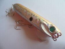 Leurre Popper pêche surface mer riviere argenté dos or  argenté ventre orange