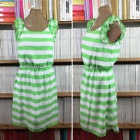 LILLY PULITZER dress stripe green frill logo summer S UK 8 10 US 4 6