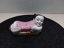 Vintage Chinese Famille Rose Porcelain Girl Pillow Headrest Figurine Vintage