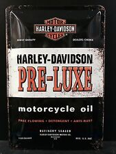 Harley Davidson Pre Luxe Motorcycle Oil Embossed Sign Garage Wall Decor 30x20 Cm