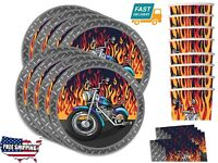 Home Kids Party Motorcycle Biker Birthday Plates Napkins Cups Tableware,16 Guest