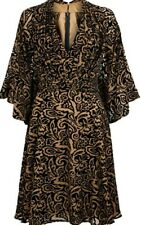 Monsoon Koko Siren Burnout Velvet Dress Gold Black Uk 14 Bnwt Batwing