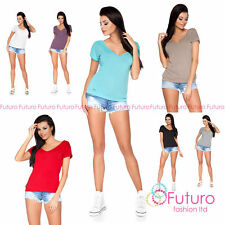 No Pattern V Neck Classic Casual Tops & Shirts for Women