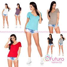 Women's No Pattern Classic Short Sleeve Sleeve Hip Length Tops & Shirts