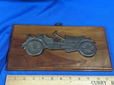Antique Early Auto Car Club VTG Heavy Brass Bronze Wood Trophy Plaque Wall