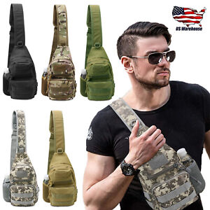 Men Outdoor Tactical Backpack Shoulder Sling Bag Chest Pack Sport Travel Hiking