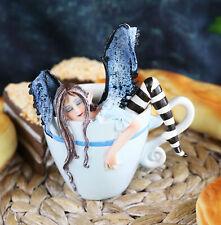 "Amy Brown Teacup Latte Coffee Drunk Fairy Figurine Whimsical Faerie Figure 5""H"