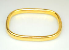 VINTAGE MARIN 18K YELLOW GOLD ROUNDED SQUARE HINGED BANGLE BRACELET OPENS ITALY