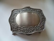 Irish metal jewelry box lined made in Ireland Mullingar Pewter large celtic