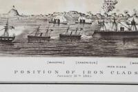 Antique Atlas Map Civil War CXXIX 1865 Iron Clad Ships, Rebel Lines Atlanta