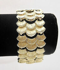 Vintage Art Deco Link Gold Tone Bracelet Seashell Themed