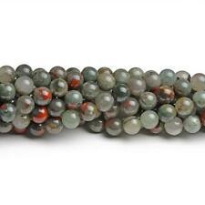 Bloodstone Round Beads 6mm Green/Red 60+ Pcs Gemstones Jewellery Making Crafts