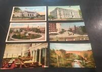 6 Vntg Washington DC Linen Postcards Capitol ,Lib. of Congress And Other.