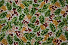 "Christmas Mistletoe Print Quilt Fabric Craft Apparel Upholstery 45"" Holiday12147"
