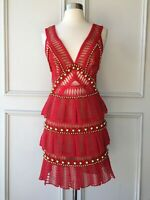 thurley : crescent gold stud red dress size: 6.8.10.12.14 - NEW- $599