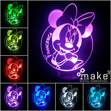 Lampada 3D Minnie Personalizzata Con Nome(Disney Topolina Bambina Regalo)