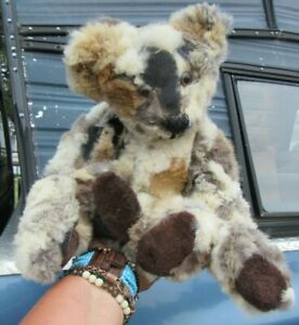"VINTAGE TEDDY BEAR 17"" REAL FUR BROWN BLACK RABBIT COAT JACKET ARTIST FOX MINK"