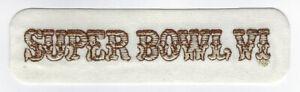 1972 Super Bowl VI patch Dallas Cowboys vs Miami Dolphins Rogers Staubach SB 6