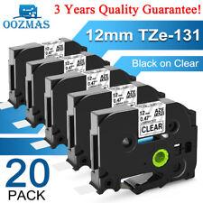 20pk Tz 131 Tze 131 Pt D210 Compatible Label Maker Tape 12mm For Brother P Touch