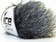 Black & White Long Eyelash Yarn Ice Fun Fur 22748 50 gram