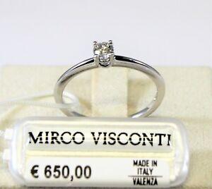 Anello oro bianco 18kt 750/°°° MIRCO VISCONTI con Diamante solitario  MV136/EA20