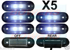 5 x 12V/24V FLUSH FIT WHITE FRONT LED MARKER LAMPS / LIGHTS TRUCK VAN KELSA BAR