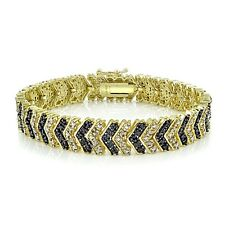 Gold Tone 1 Quilate TDW Black & White Diamond Chevron Pulsera