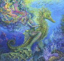 Fantasy Mermaid Rides Seahorse,Fish,Corals,Spar kle Added,Birthday Greeting Card