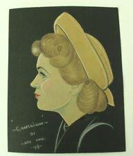 Original Mixed Media Woman in Profile w/Hat 1944 Colored Paper Pencil Alex Horne