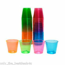 80 Disposable Plastic Neon Coloured Party Jelly Shot Glasses Cups 30ml Colourful