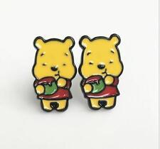 Pooh the winnie eatting metal earring ear stud earrings studs cartoon unisex