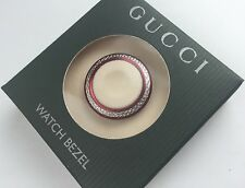 New Authentic GUCCI 1100L 1200L Diamond Cut METAL WATCH Bezel  Striking Red