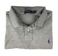 POLO RALPH LAUREN Long Sleeve Polo Shirt Mens Size 2XL XXL Gray Soft Cotton