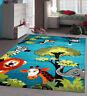 Kids Jungle Rug Children Bedroom Rugs Soft Woven Blue Nursery Mat Carpet Unisex