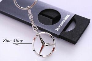 Zinc Alloy Chrome Car Auto Mercedes-Benz Key Chain Ring Boy Gift Pack Keyring