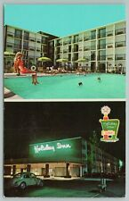 New listing Troy Michigan~Holiday Inn At Night & Outdoor Swimming Pool~Vintage Postcard