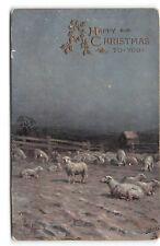 Christmas-Tuck Oilette-Shepherd-Sheep-Flock-Ricard-Cordingley-Antique Postcard