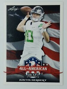 2020 20 Leaf Draft All-American Justin Herbert Rookie RC #63, Chargers, Ducks