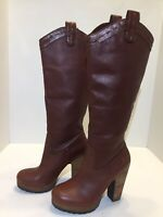 Lucky Brand Tall Boots Lined Brown Leather Heel Slip On Women's Size 7 M