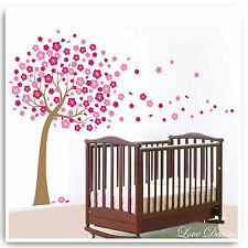 Flor árbol Pegatinas De Pared Rosa Bebé Mono Selva vivero dormitorio con Dibujo de Búho Arte Calcomanías