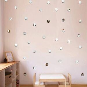 Mini Mirror Stickers 3D Acrylic Wall Heart Round Shape Decal Mosaic Decoration
