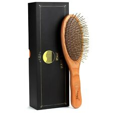 BFWood Detangling Brush for Thick and Curly Hair Wooden Handle Metal Bristles
