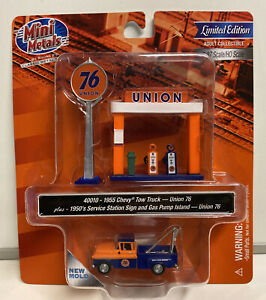 Mini Metals HO Scale Union 76 1955 Chevy Tow Truck With Gas Pumps & Sign #40010